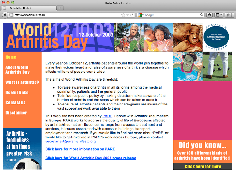 World Arthritis Day 2005