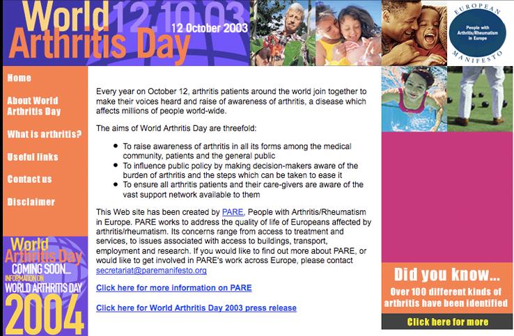 World Arthritis Day 2003 website thumbnail